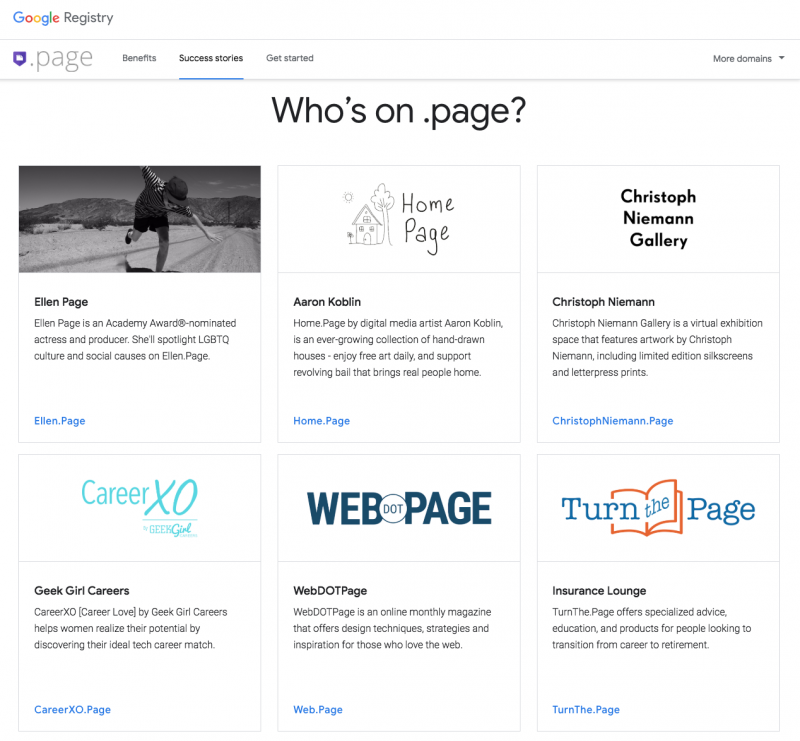 WebDOTPage, TurnThe.Page and CareerXO.Page help launch the .page domain